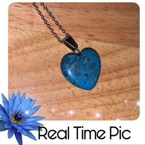Deep Turquoise Blue Heart Pendant Necklace